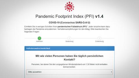 Screenshot der Internetseite Pandemic Footprint