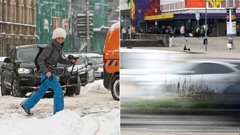 Skifahrerin in verschneitem Kassel - Verkehrsbild Kassel