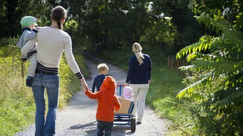 Zwei Tagesmütter spazieren mit insgesamt fünf Kindern einen Waldweg entlang. Im Vordergrund zieht eine von ihnen einen hölzernen Bollerwagen.