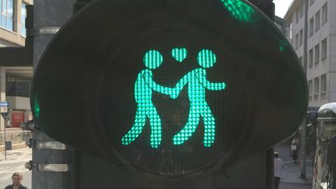Grüne Ampelmännchen mit Herz
