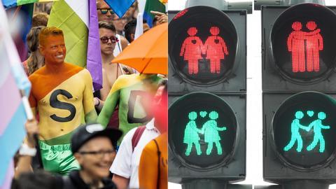 Schwul-lesbische Ampelpärchen an der Frankfurter Konstablerwache