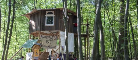Eine von Aktivisten errichtete Holzhütte mit Transparenten im Dannenröder Forst