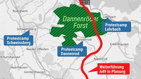 Karte vom Dannenröder Forst mit Markierungen der Standorte der Aktivisten.