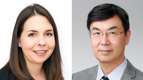 Porträtfotos der beiden Preisträger Shimon Sakaguchi und Judith Reichmann.