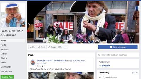 """Screenshot der Facebookseite """"Emanuel de Greco in Gedenken""""."""