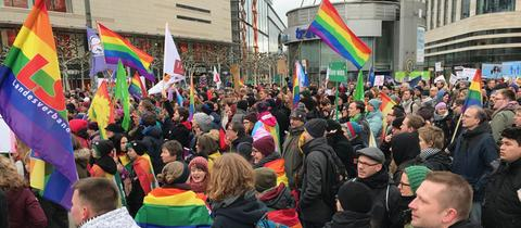 """Teilnehmer der """"Demo der Vielfalt und Liebe"""" in der Frankfurter Innenstadt."""