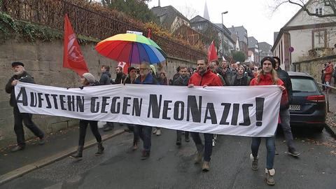 Demonstranten in Marburg