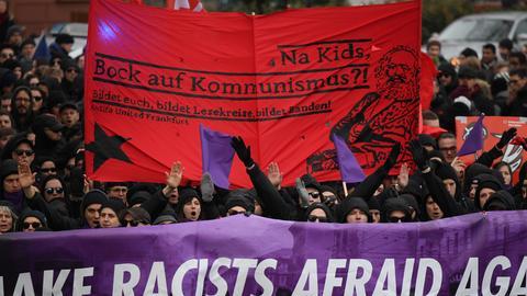 Die Antifa United Frankfurt demonstrierte gegen rassistische und rechte Gewalt
