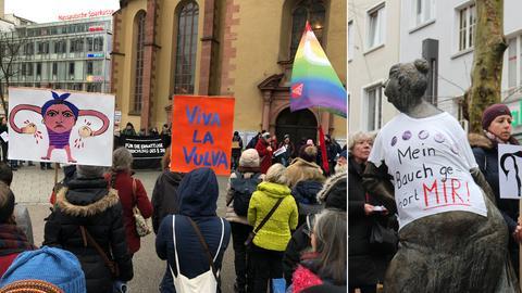 Unter anderem in Frankfurt (li.) und Gießen haben am Samstag Menschen für die Abschaffung des Paragrafen 219a demonstriert.