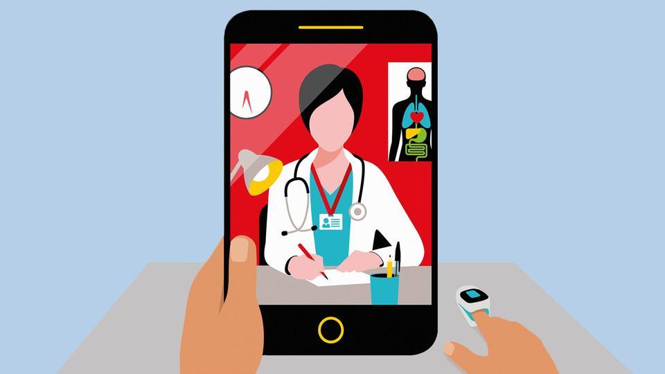 Über's Smartphone können die Patienten von zuhause mit ihrem Hausarzt in Kontakt treten.