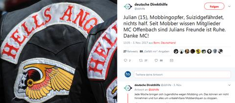 """Hells Angels Kutte - Tweet der """"Deutschen Direkthilfe"""""""