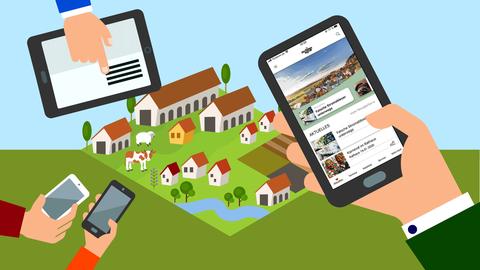 Die Grafik zeigt Hände mit Smartphones vor einem Hintergund der ein abstrahiertes Dorf zeigt.