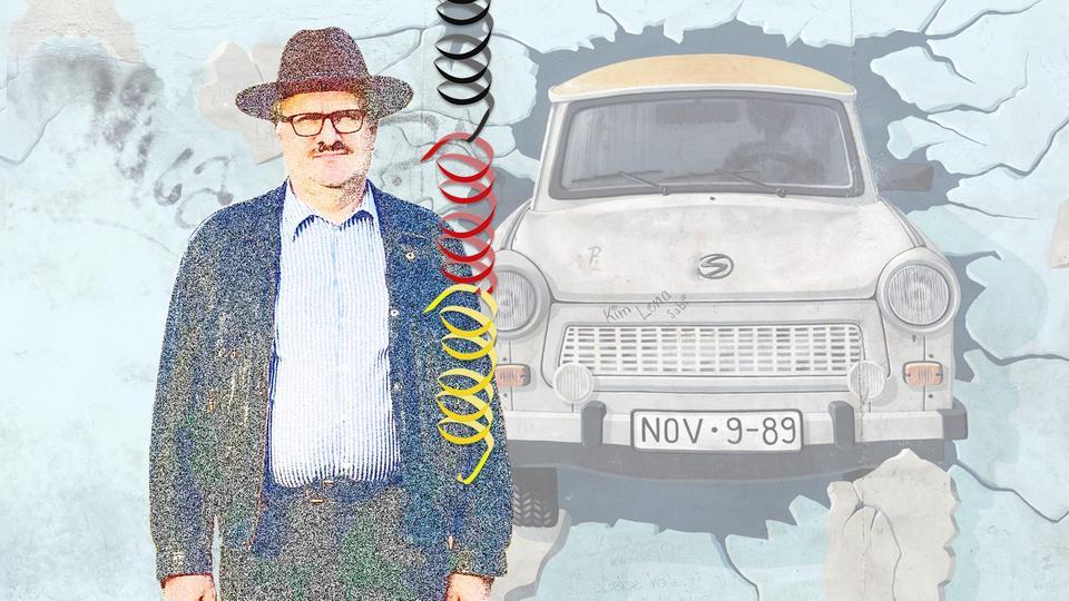 Grafik von einem Trabi, der durch die Mauer bricht, und Jürgen Banz, der von seinen Erinnerungen an den Mauerfall berichtet