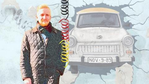 Grafik von einem Trabi, der durch die Mauer bricht, und Arndt Macheledt, der über sein Interesse an der Geschichte der deutschen Teilung berichtet