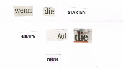 """""""Kein Asylbetrüger Triathlon in Büdingen. Wenn die starten, gibt's auf die Fresse"""" - steht auf dem Drohbrief."""
