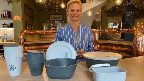 Sandra Schwarz vom Gewerbeverein Michelstadt setzt auf wiederverwendbare Boxen