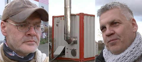 Mobiler Öltank, Anwohner Horst Rößler und Uwe Pack