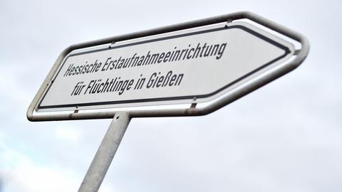 Wegweiser zur Erstaufnahmeeinrichtung für Flüchtlinge in Gießen