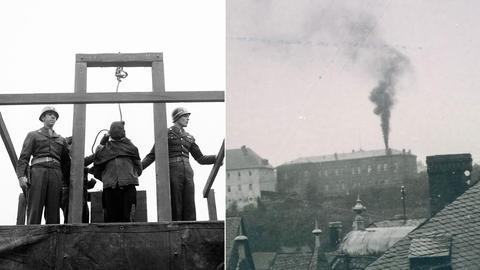 Hinrichtung eines Euthanasie-Verbrechers (li.), Rauch der Verbrennungsöfen über Hadamar