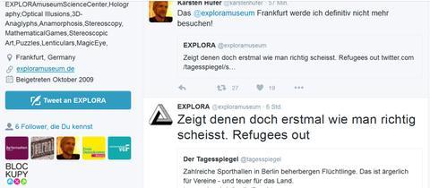 Tweet auf dem Account des Explora Museums vom 09.01.2016 ca. 16 Uhr