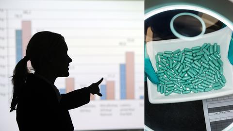 Frau in einer Konferenz/ Pillen im Labor