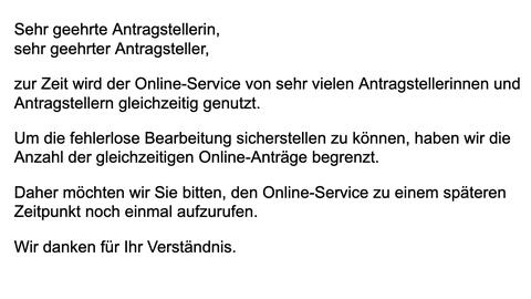 Fehlermeldung technische Probleme Impftermin Homepage