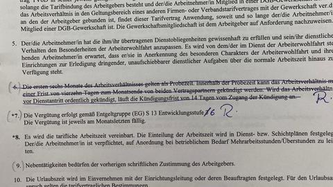 Arbeitsvertrag von Zübeyde Feldmann