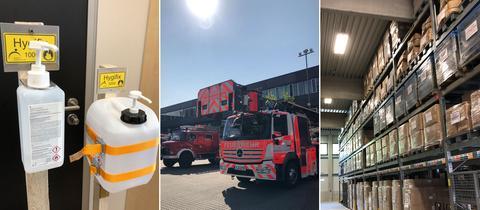 Bildkombo: Desinfektionsmittelspender, Feuerwehrfahrzuge, Materiallager
