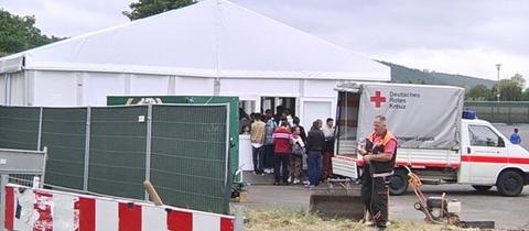 Flüchtlingszelte in Marburg-Cappel