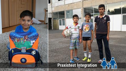 Fluechtlingskinder gehen zur Schule, andere spielen Fußball