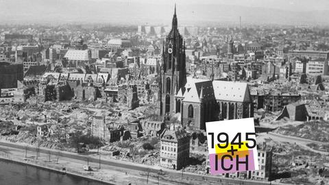 Panorama-Bild vom zerstörten Frankfurt