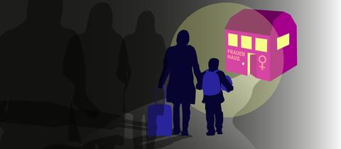 Die Grafik zeigt eine Frau mit Kind, die zum Frauenhaus läuft und von Schatten verfolgt wird.