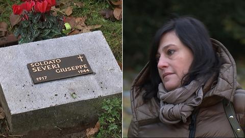 Stefania Severi und das Grab ihres Onkel auf dem Friedhof Westhausen in Frankfurt