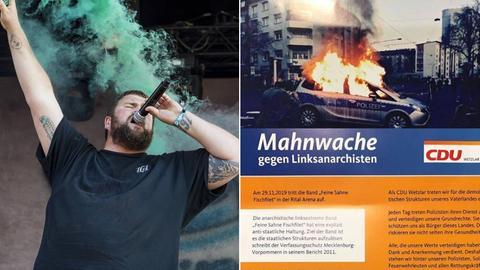 """Monchi, Sänger der Band """"Feine Sahne Fischfilet"""", und der Flyer der CDU"""