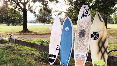 Surfbretter, die auf einer Wiese in Kassel stehen