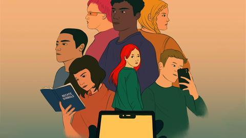 Illustration all der Protagonist*innen des Games, im Vordergrund eine Hand mit einem Smartphone.