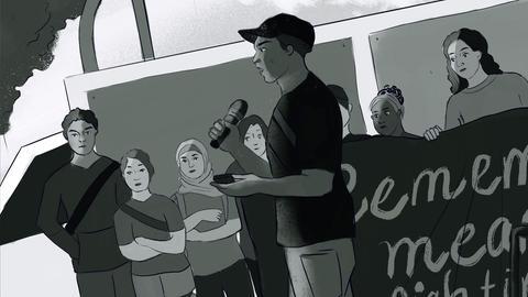 Illustration, die eine Szene zeigt: Ein Redner spricht vor einer kleinen Menge Demonstrant*innen.