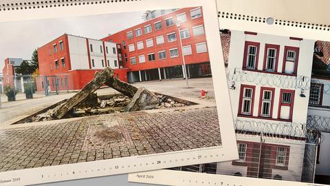Gefängnis-Kalender vom Justizministerium: Mahnmal zum RAF-Anschlag in der JVA Weitersbach (links), Altbau der JVA Dieburg