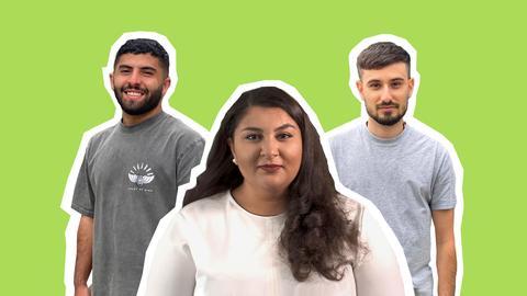 Collage mit Yazan, Bahar und Pedram (von links nach rechts)