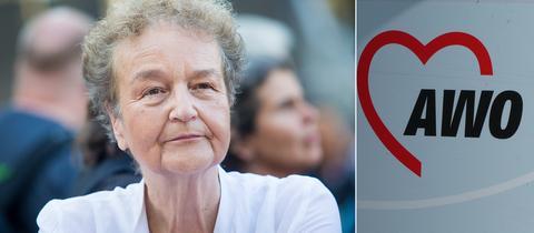 Ex-SPD-Bundesjustizministerin Herta Däubler-Gmelin und AWO-Logo