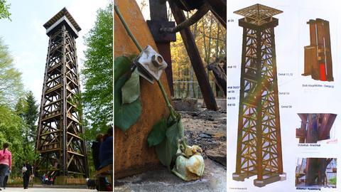 Goetheturm - Bildkombination - alter Turm - Rose - Plan für neuen Turm