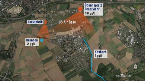 Übersicht der PFC-Werte in Brunnen und Gewässern am US-Militätstützpunkt Wiesbaden-Erbenheim