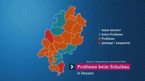 Grafik Probleme bei Schulbauarbeiten in Hessen