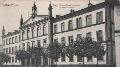 Historische Aufnahme des Städt. Reform-Realgymnasiums in der Oranienstraße in Wiesbaden