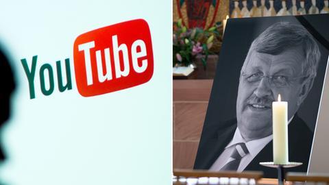 Bildkombo: Screenshot von Youtube und Walter Lübcke, Porträt bei seiner Beerdigung