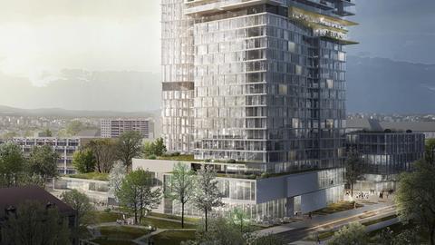 """Die Visualisierung zeigt den geplanten Wohnturm """"OneFortyWest"""" in Frankfurt auf dem Areal des ehemaligen AfE-Turms."""