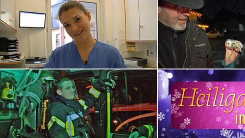 """Collage aus vier Bildern: Ärztin,Taxifahrerin, Feuerwehrmann, Logo """"Heligabend in Hessen"""""""