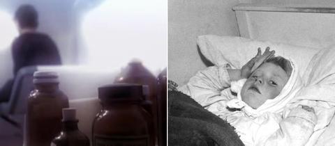 Collage aus Symbolbild (Kind und Medikamtenfläschen) und Kinderbild von Thomas Hasper, der im Bett liegt