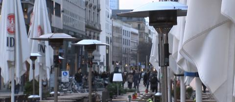 Heizpilze auf der Frankfurter Freßgass