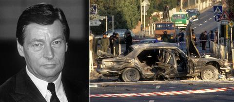 Collage: Portrait von Alfred Herrhausen und Bild des zerstörten Autos